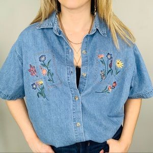 Victoria Jones Vintage Denim Floral Embroidery 20W
